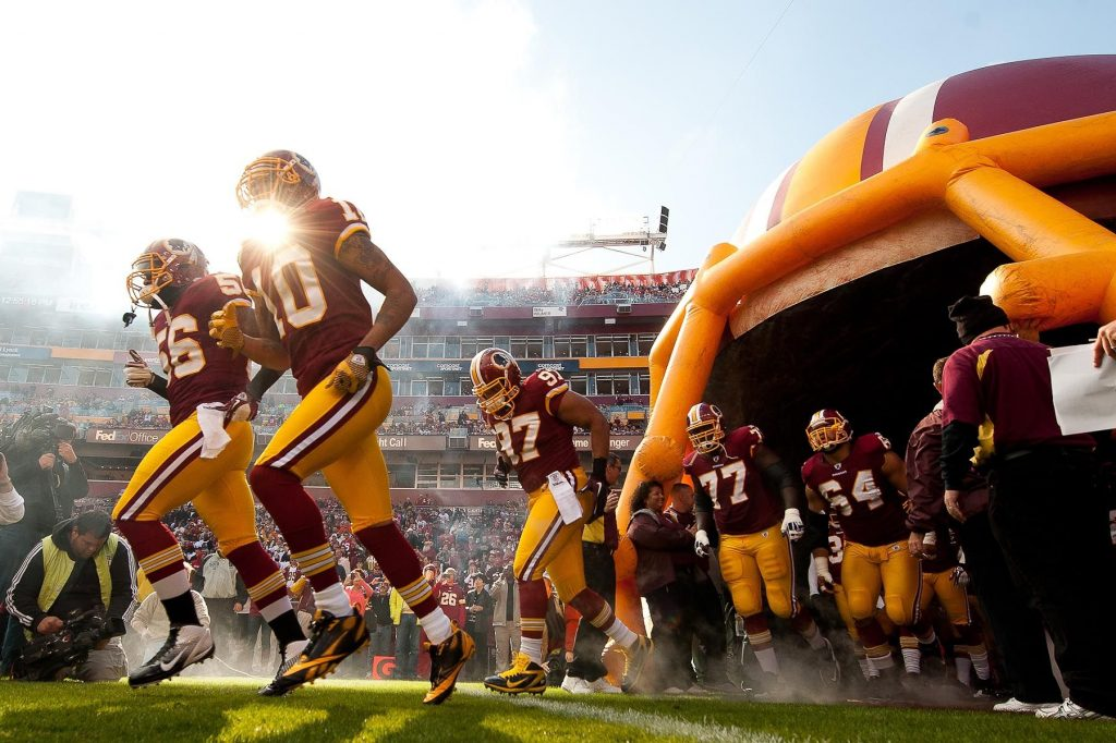 LANDOVER, MD - NOVEMBER 6: A general view of the Washington Redskins entering the field during team introductions before the game against the San Francisco 49ers at FedExField on November 6, 2011 in Landover, Maryland. The 49ers defeated the Redskins 19 to 11. (Photo by Rob Tringali) *** Local Caption ***